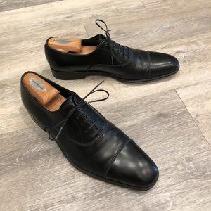 Ferragamo Black Oxford Cap Toe Dress Shoes